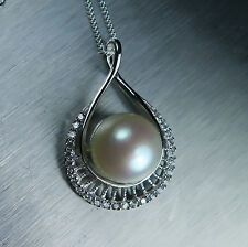 Natural Freshwater pearl cream white 10mm Sterling 925 Silver Pendant necklace