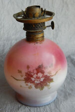 Antique Vintage Gone With the Wind Table Oil Lamp Light Pink with Flowers