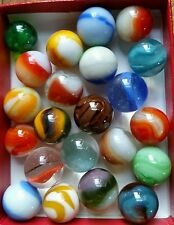 22 Old Glass Marbles Vintage/Antique Uranium glow Peltier Ravenswood Marble King