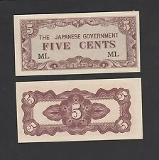 Malaya Japanese (JIM) 5 Cents 1942 Prefix #ML - UNC
