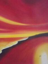 Abstracto Rojo Amarillo Flores Pintura Aceite Grande Canvas Arte Original Contem