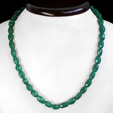 BRILLIANT EVER 216.00 CTS NATURAL FACETED GREEN EMERALD BEADS NECKLACE STRAND