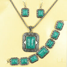 3 IN 1 Square Turquoise Antique Silver Ptd Earring Bracelet&Necklace Jewelry Set
