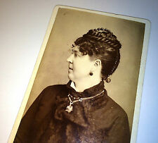 Antique Victorian Canadian Woman W/ Fantastic Hairstyle Owen Sound Old CDV Photo