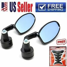 "Black 7/8"" Handle Bar End Oval Tinted Mirrors For Honda Ducati Yamaha Kawasaki"