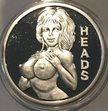 Heads & Tails Flipper Naked Woman Collectible Coin 1 Troy Oz .999 Fine Silver