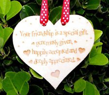 Special Friendship Wooden Heart Sign Birchwood Home Gift Present Shabby Chic