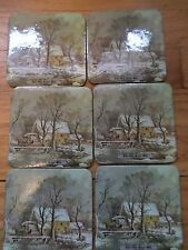 Classic vintage Currier & Ives The Old Grist Mill cork coasters set of 6