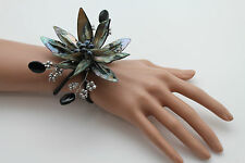 Women Bracelet Grey Black Beads Flower Elastic Cuff Band Unique Fashion Jewelry