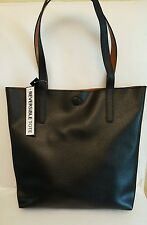 NEW Pebble Soft Leather look Reversible Tote Bag Shopper  BLACK/BROWN