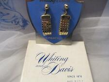 Vintage Whiting & Davis Gold Tone Mesh Drop Dangle Clip-On Earrings