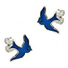 SOLID 925 STERLING SILVER BLUEBIRD OF HAPPINESS 10MM STUD EARRINGS