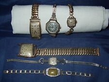 VINTAGE LOT (6) WATCHES * F0R PARTS * 4 LADIES AND 2 MEN'S * NON-WORKING