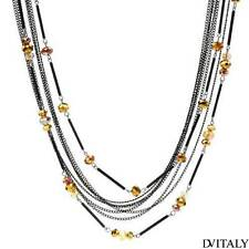 DV ITALY Lovely New  Necklace With Genuine Crystal in Two tone Base metal.