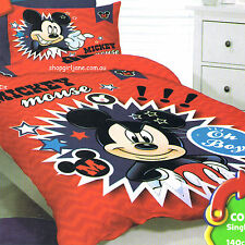 Mickey Mouse - Disney - Oh Boy - Single/US Twin Bed Quilt Doona Duvet Cover Set