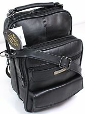 UK Mens Womens Real Leather Travel Flight Shoulder Across Body Bag Handbag black