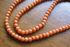 Antique Light Salmon Natural Coral Bead Necklace 8.84 g Estate Find 5 mm