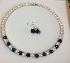 Charming!White Akoya Cultured Pearl/Lapis Lazuli necklace earrings set A23