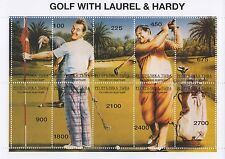 "GOLF WITH LAUREL AND HARDY HOLLYWOOD LEGENDS 5"" x 7"" MNH STAMP SHEETLET"