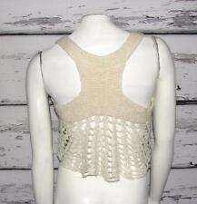 FREE PEOPLE~IVORY~CROCHET~BOHEMIAN~HOBO~HIPPIE~BUTTON VEST~XS (0-2) RARE~!