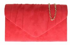 Faux Suede Pleated Clutch Bag Folds Small Handbag Womens Designer Prom Party