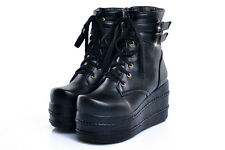 Ladies Punk Rock Lolita Lace Up High Platform Ankle Boots Shoes Plus Size goth