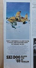 1968 magazine ad for Ski-Doo Snowmobiles -1969 model floats over waist high snow