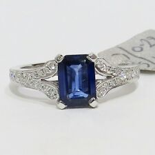 18ct  WHITE GOLD EMERALD CUT 1.20 CARAT  BLUE SAPHIRE AND DIAMOND  RING