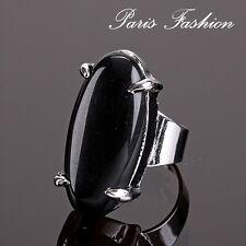 Designer XL Ring Onyx Fingerring Damenringe Unikät Edelstein Paris versilbert