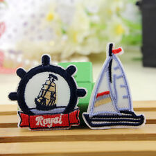 2pcs Embroidered Sew Patch Badge Anchor Sailor Boat Motif DIY Applique Fabric