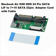 Macbook Air SSD HDD 24 Pin SATA LIF to 7+15 SATA 22pin  Adapter Card with Cable