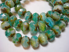 25 8x6mm Meadow Green, Aqua, Gold Czech Glass Picasso Rondelle beads