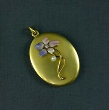 Antique Art Nouveau 14K Gold Enamel Locket Flower Pansy Violet Diamond Pearl