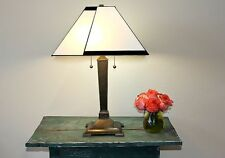 """Tiffany Style Contemporary White Table Lamp 16"""" Shade 2 Light Handcrafted NEW"""