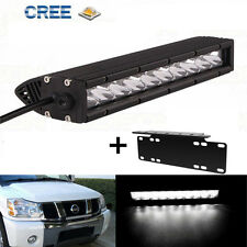 Slim CREE LED Offroad Work Light Bar + Licence Plate Mounting Bracket Kit 12Inch