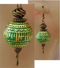 Gold & Green Beaded Drop/Dangle Earrings Handmade Jewelry Hook NEW Fashion