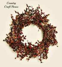 New Primitive Country Fall BURGUNDY & MUSTARD Pip Berry Candle Ring Wreath