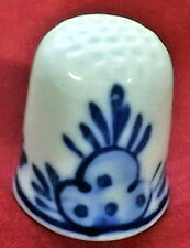 Holland delft blue dutch floral design both sides porcelain thimble branded