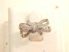 Vintage Jewellery - Sterling Silver & Cubic Zirconia Bow Ring - Deceased Estate
