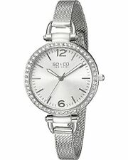 NEW SO & CO New York 5061M.1 Women's SoHo Crystal SS Mesh Bracelet Silver Watch