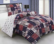 3 Piece Baseball Sports Theme Plaid Red White and Blue Comforter Set Twin Siz...