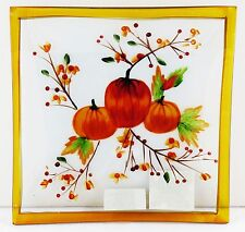 Pumpkin Glass Tray Plate Yankee Candle NEW fall harvest orange brown autumn