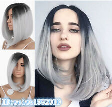 Ombre wig Lace Front  Silver-grey with dark root  Medium length Fashion Wigs