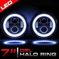 7 Inch Round LED Headlights Halo Angle Eyes For Jeep 97-2016 Wrangler JK LJ TJ