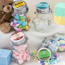 30 Personalized Glass Teddy Candy Jar Wedding Baby Shower Event Favors Bulk Lot