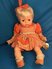 Effanbee Doll MY BABY w Original Tag Vintage 1960-70s Brown Eyes, Orange Dress