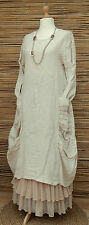 LAGENLOOK HEAVY LINEN AMAZING QUIRKY BOHO 2 POCKETS DRESS*NATURAL*BUST UP TO 38""