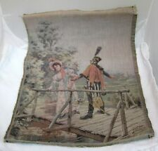 """Vintage Woven French Tapestry Military Man & Woman On Bridge 17 x 12"""" T17"""