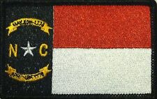 NORTH CAROLINA Flag Patch With VELCRO® Brand Fastener Black, White & Red  #2