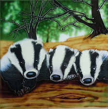 "Badger Animal Ceramic Picture Tile Farm Wall Plaque Kitchen Wildlife 8x8"" 05268"